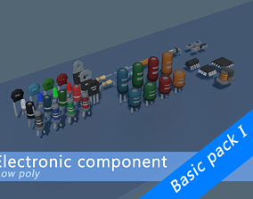 Electronic components Basic pack - Low poly style 3D asset