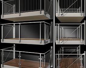 Metal balcony 3D model