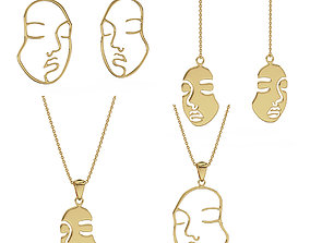 Collection of sad pendants and earrings 3D printable model