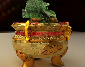 Chinese Gold Ingot Pot 3D