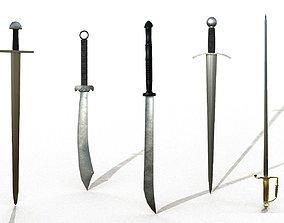 3D model Simple swords package