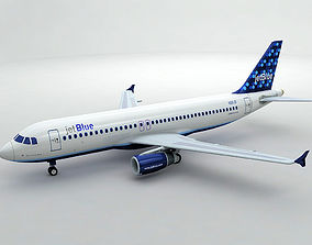 3D model Airbus A320 Airliner - Jet Blue