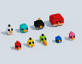 Voxel Angry Birds 3D model game-ready