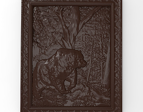 3D printable model Bear in the forest bas relief for CNC