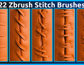 22 Zbrush Stitch Brushes 3D model