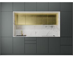 minimal 3D Golden kitchen