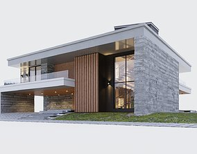 Modern two storey villa 3D model minimalism