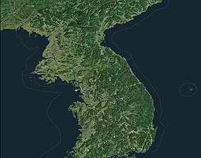 Korean Peninsula satellite map 3D