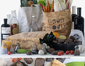 3D Grocery bags with food