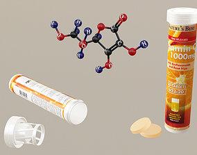 Vitamin C-Tablets-Molecular Model 3D