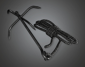 Grappling Climbing Rope BHE - PBR Game Ready 3D asset