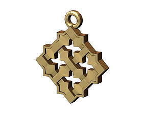 Square Moucharabieh pendant and charm 3D print model