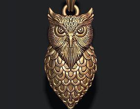 3D printable model jewel 925 owl pendant