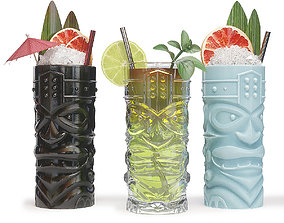 3D TIKI glasses with cocktails