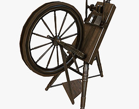 Low Poly PBR Spinning Wheel 3D asset