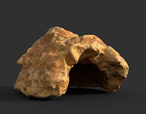 Low poly Cave Modular Yellow Rock Casual10L 3D model