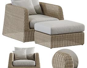 3D Zeya Rattan lounge Chair with Ottoman