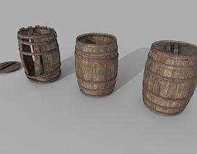 3D model Wooden Barrel Variations