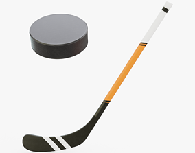 3D model Hockey Stick and Puck
