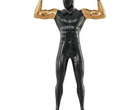3D Black male mannequin with golden hands 62