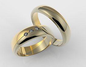 3D print model Wedding rings with three stones 3