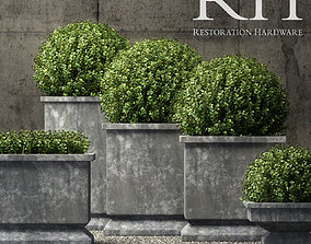 3D Restoration hardware estate zinc footed planters