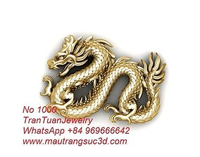 1000 Dragon For Pendant or Ring or 3D print model 1