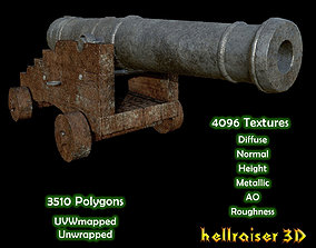 3D asset Cannon - Old Textured