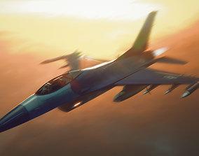 Jet F-16 3D asset low-poly