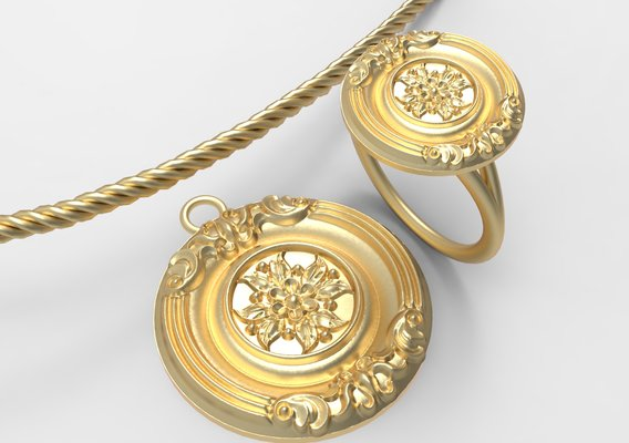 Gold Jewellery Set Design 1 3D print model