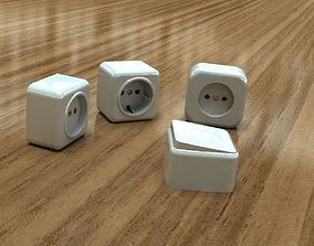 3D model Bundle power sockets and light switch