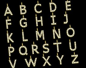 Pendant alphabet from a to z gem 3D print model