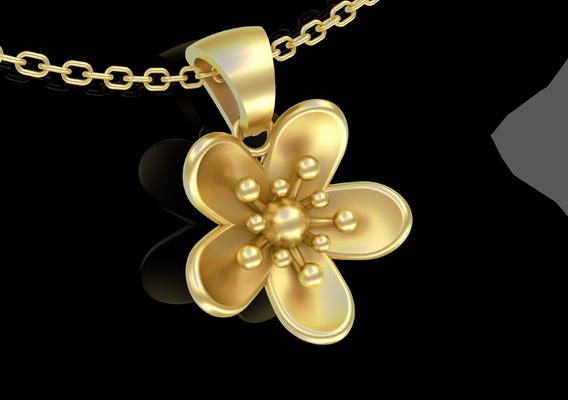 Small Flower Pendant jewelry Gold 3D print model