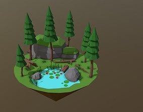3D Lake Low Poly realtime