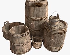 Medieval Barrels 3D model