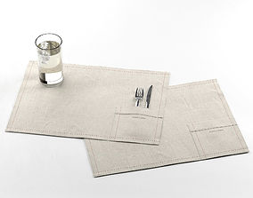 Belgian Placemats with Glass of Water knife 3D model