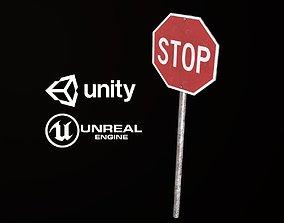 Stop Sign - PBR Game Ready 3D asset
