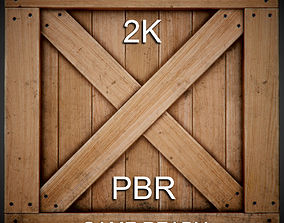 Realistic wooden box PBR Game-Ready 3D model