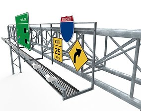 3D model Interstate Sign