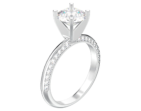 3D print model solitaire ring with one big round 4