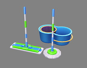 Cartoon mops and bucket 3D model