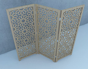 Traditional Moroccan Wood Screen 3D model decoration