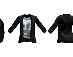 Ladies Blazer with T-shirt Tucked 3D model