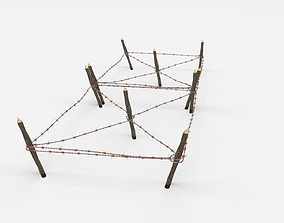 3D model Barb Wire Obstacle barricade