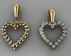 Dainty Diamond Heart Pendant with Bell 3D print model