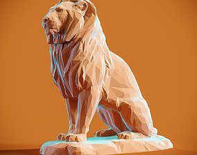 Low poly Lion 2 3D printable model