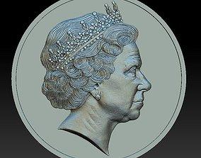 3D print model Queen Elizabeth - medal - relief -