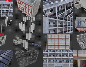 Low cost housing or residence block of flats 3D model
