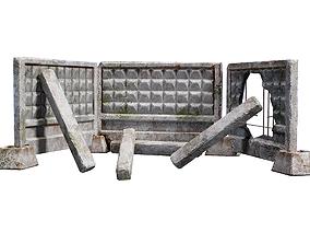 Old modular soviet damaged concrete wall fence 3D model 1