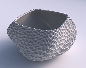 3D print model Bowl helix with wavy grid piramides